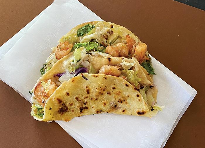 Crispy shrimp tacos from Taqueria Hecho en México