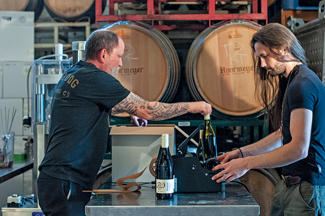 Craig Haarmeyer and Alex boxing natural wines