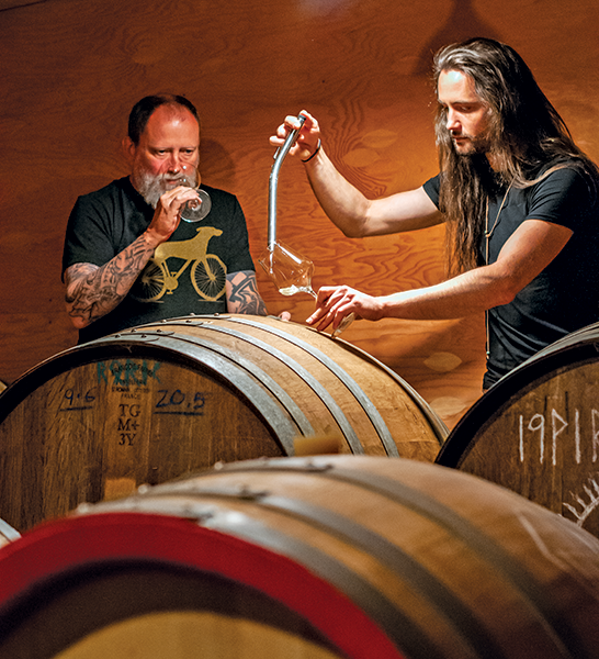 craig and alex tasting natural wines
