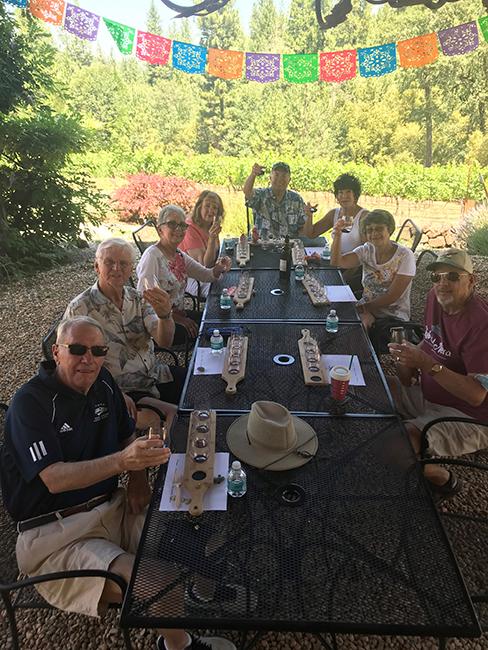 group wine tasting at wineries