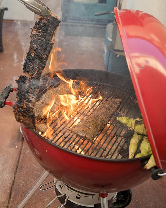grilled steak tacos on webber